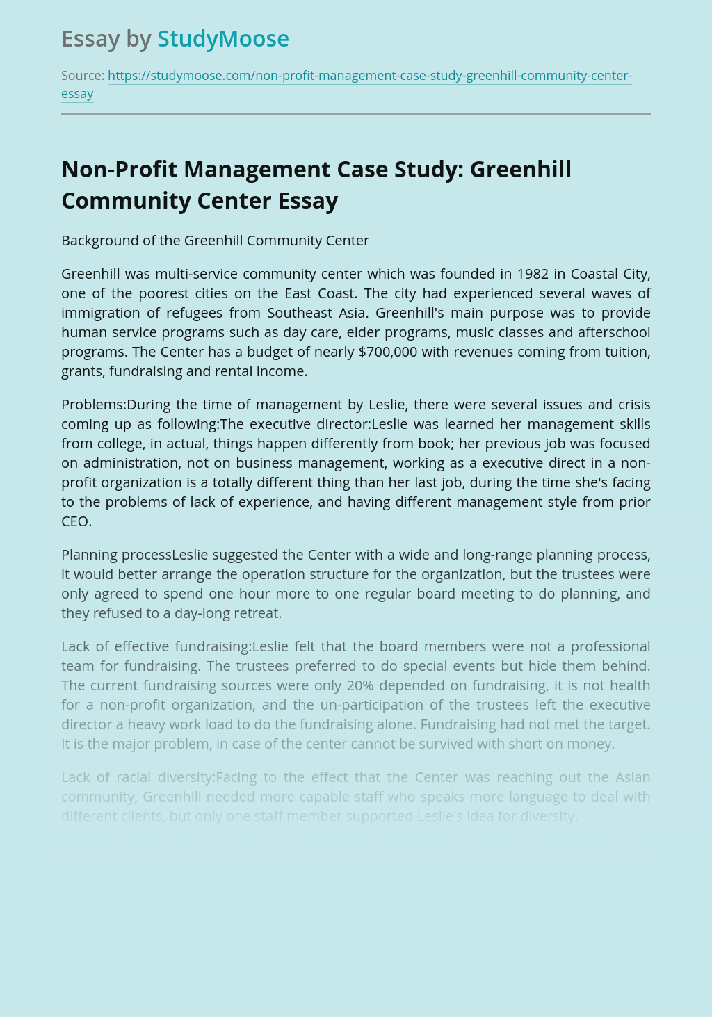 Non-Profit Management Case Study: Greenhill Community Center