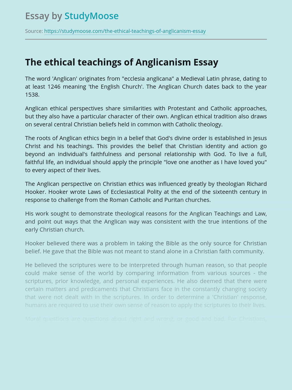 The ethical teachings of Anglicanism