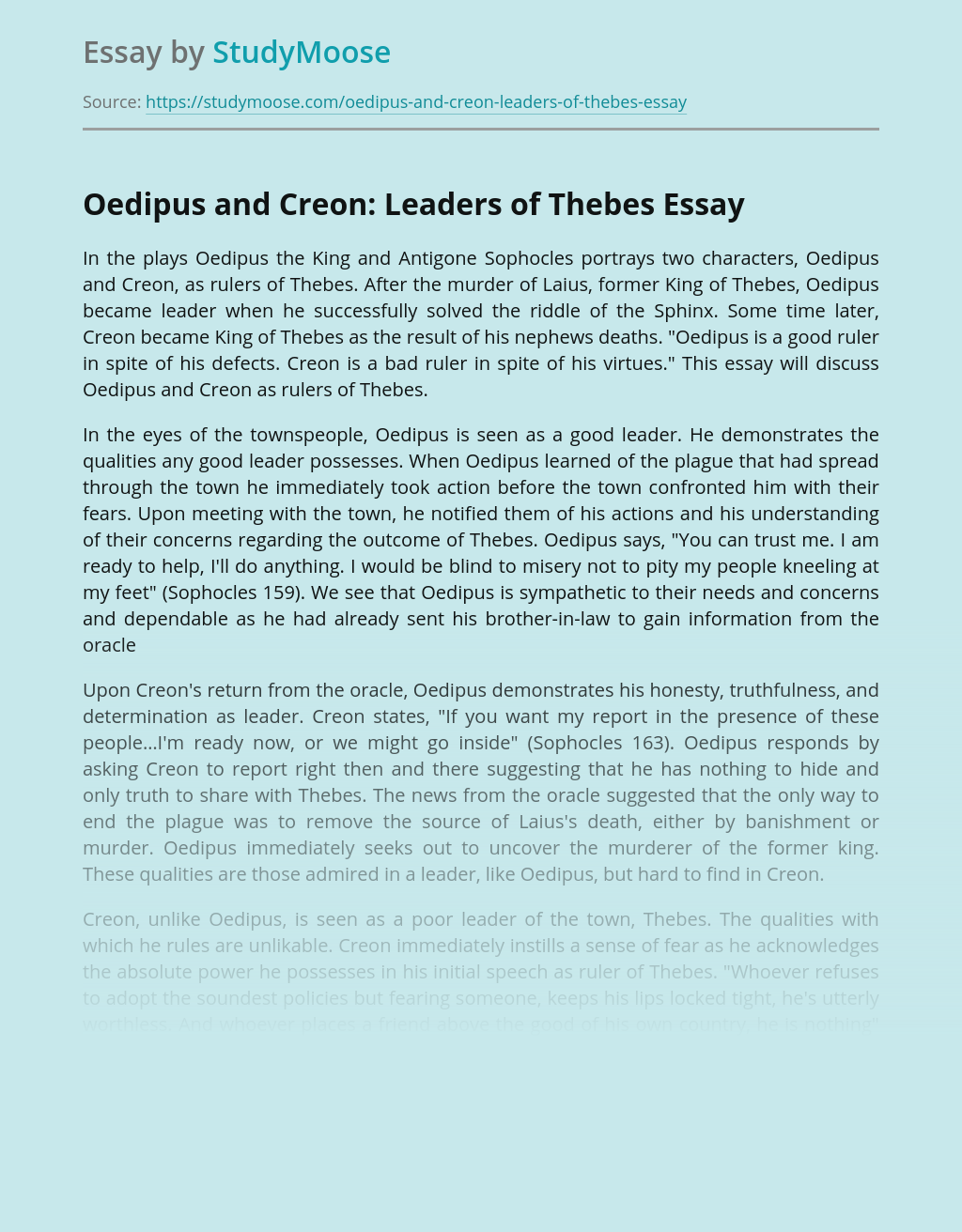 Oedipus and Creon: Leaders of Thebes