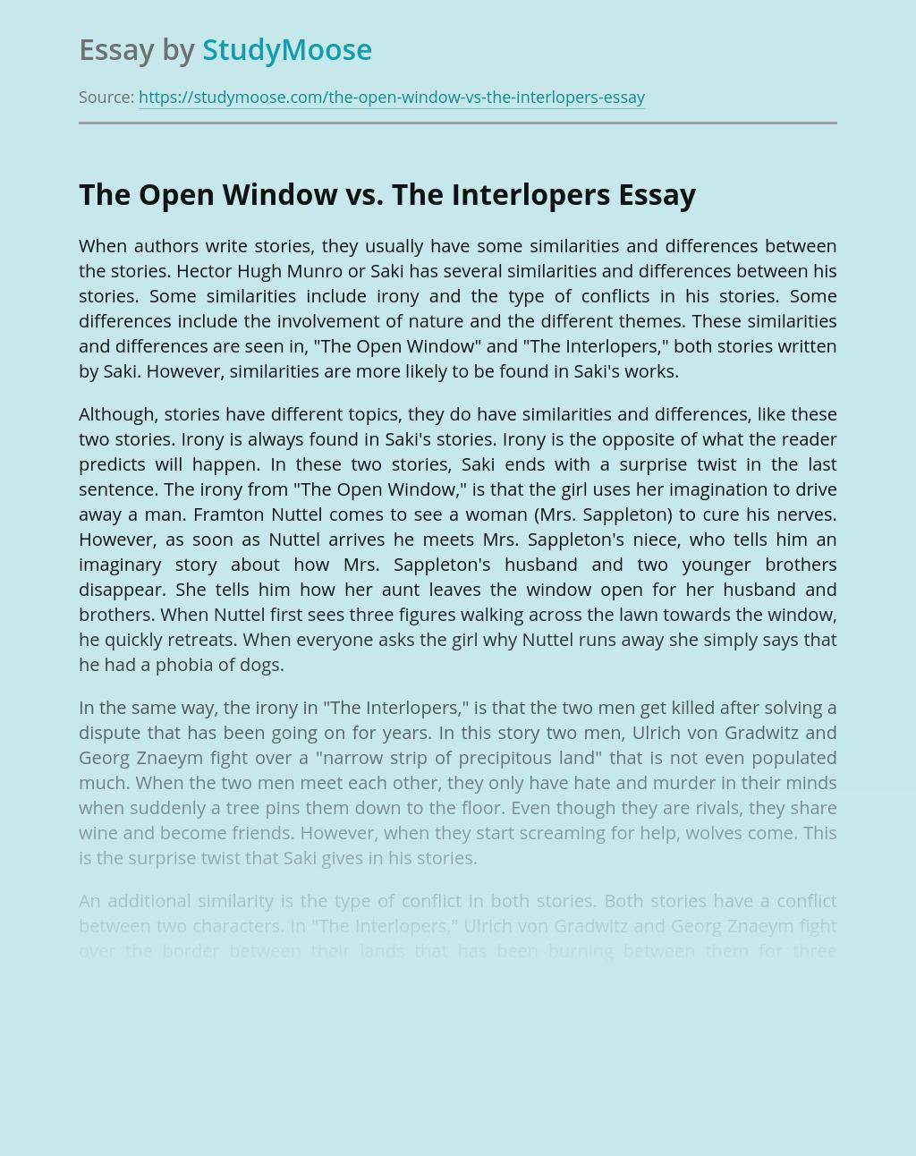 The Open Window vs. The Interlopers Short Stories Comparison