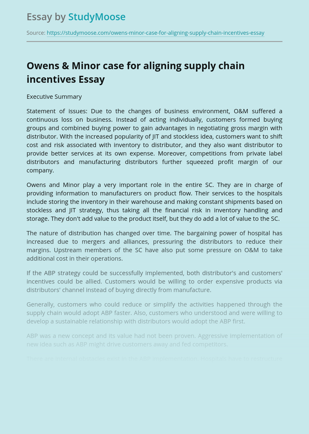 Owens & Minor Case For Aligning Supply Chain Incentives