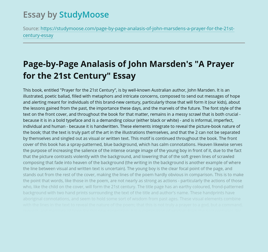 """Page-by-Page Analasis of John Marsden's """"A Prayer for the 21st Century"""""""