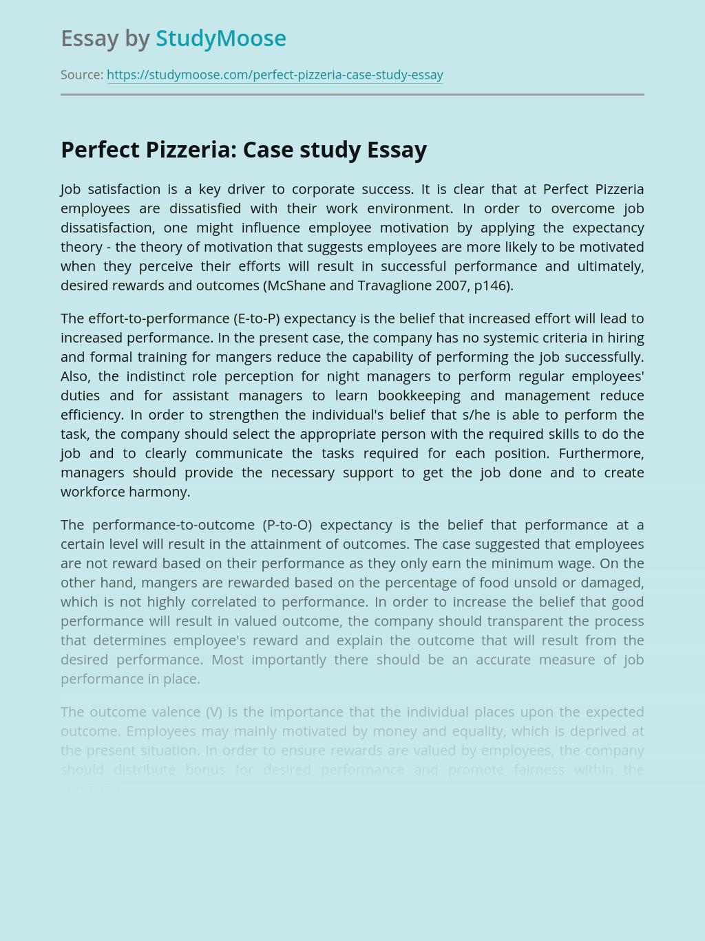 Perfect Pizzeria: Case study