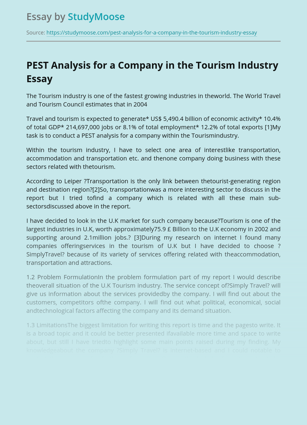 PEST Analysis for a Company in the Tourism Industry