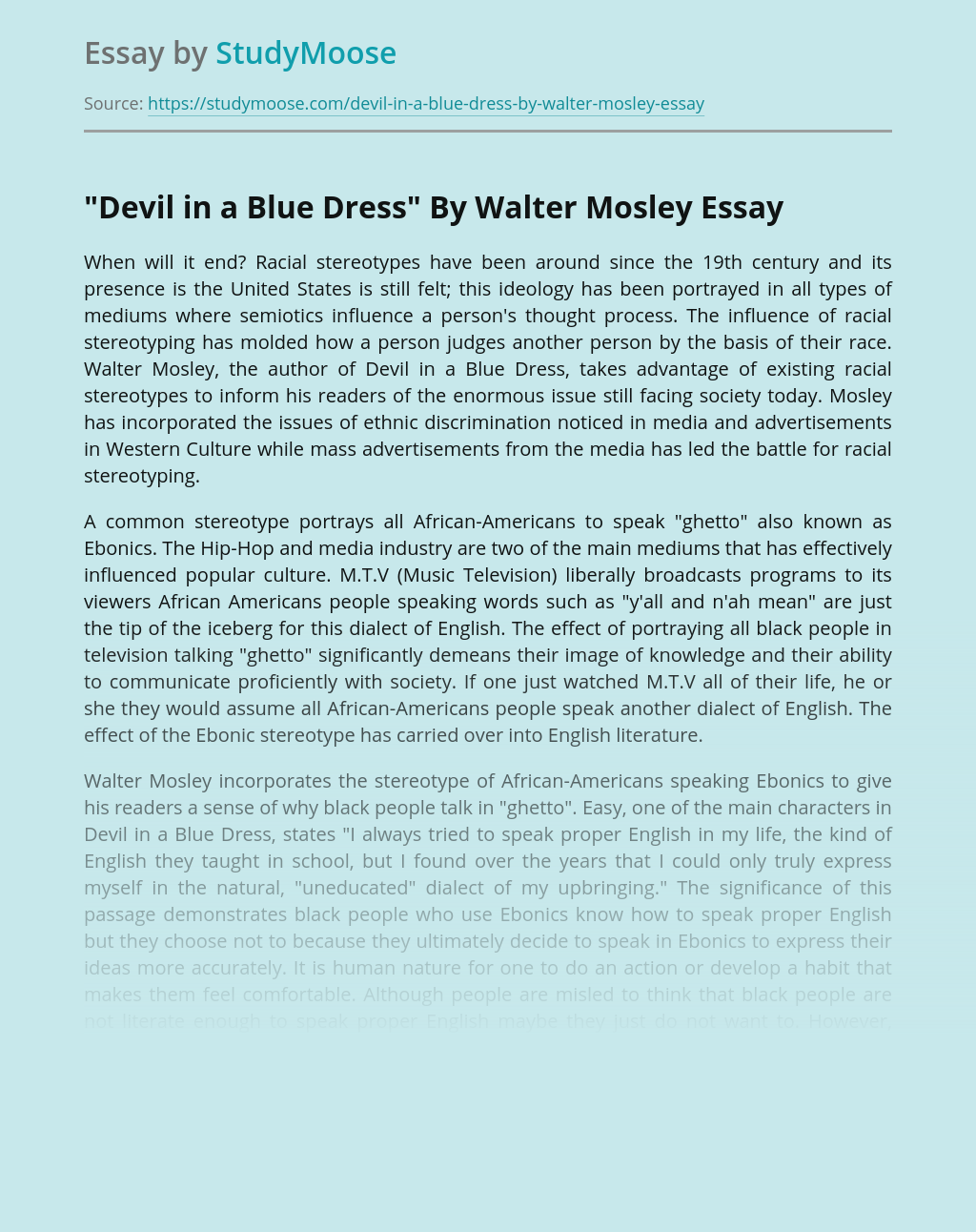 Devil in a Blue Dress on Race and Ethnicity
