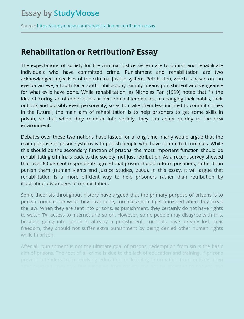 Rehabilitation or Retribution
