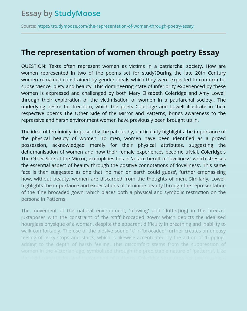 The representation of women through poetry