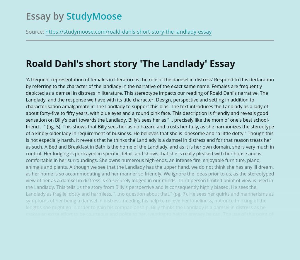 Roald Dahl's short story 'The Landlady'