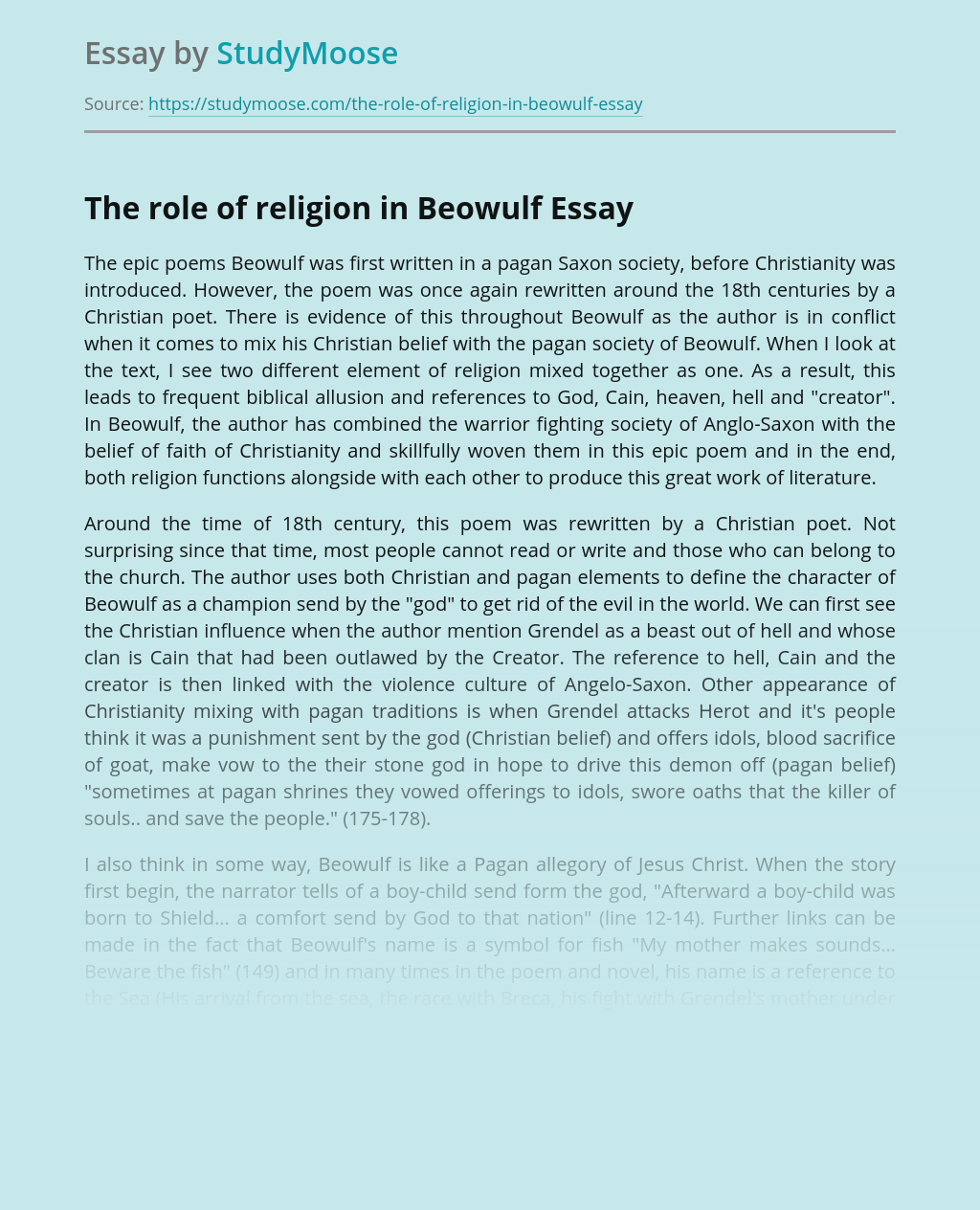 The role of religion in Beowulf