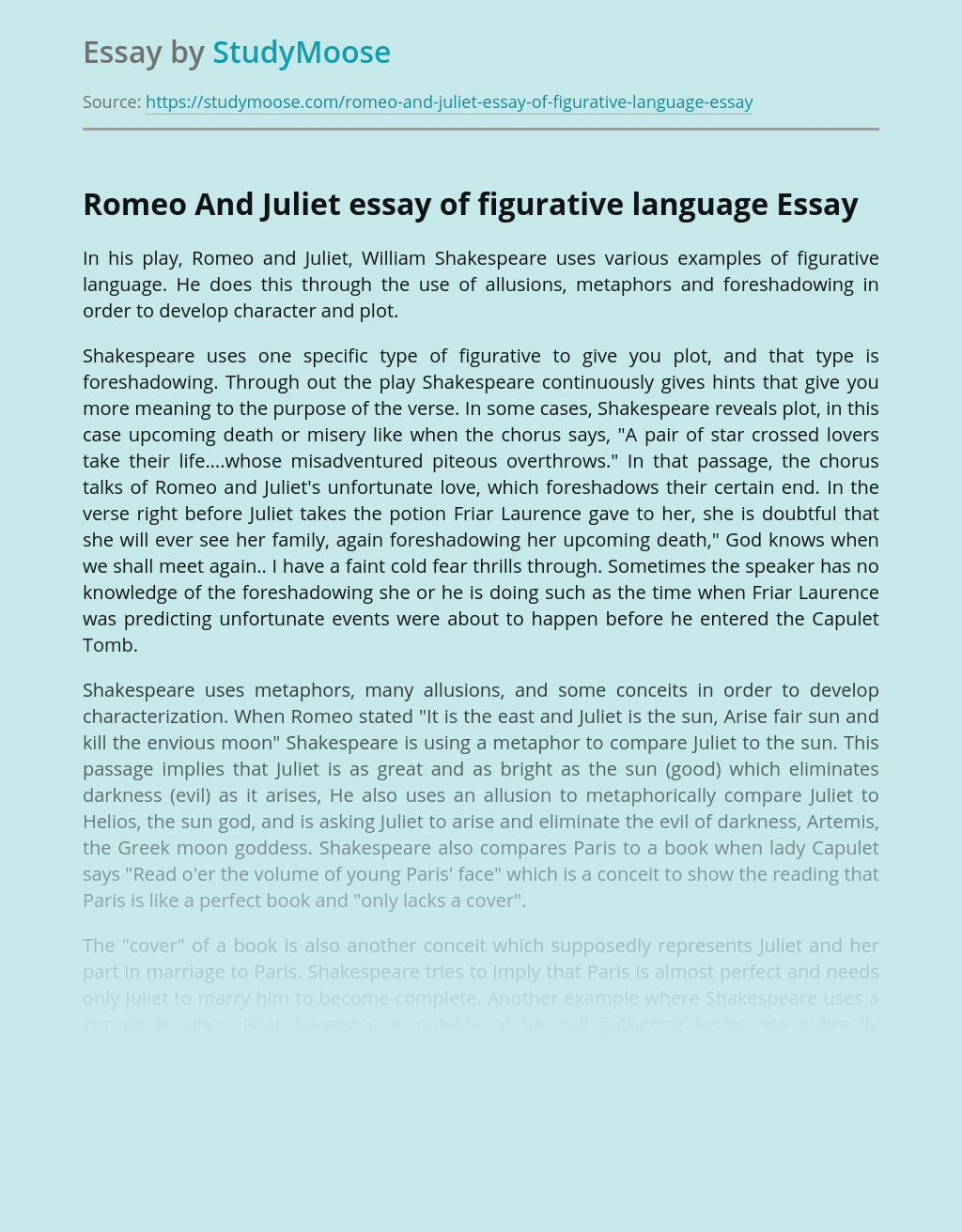 Romeo And Juliet essay of figurative language