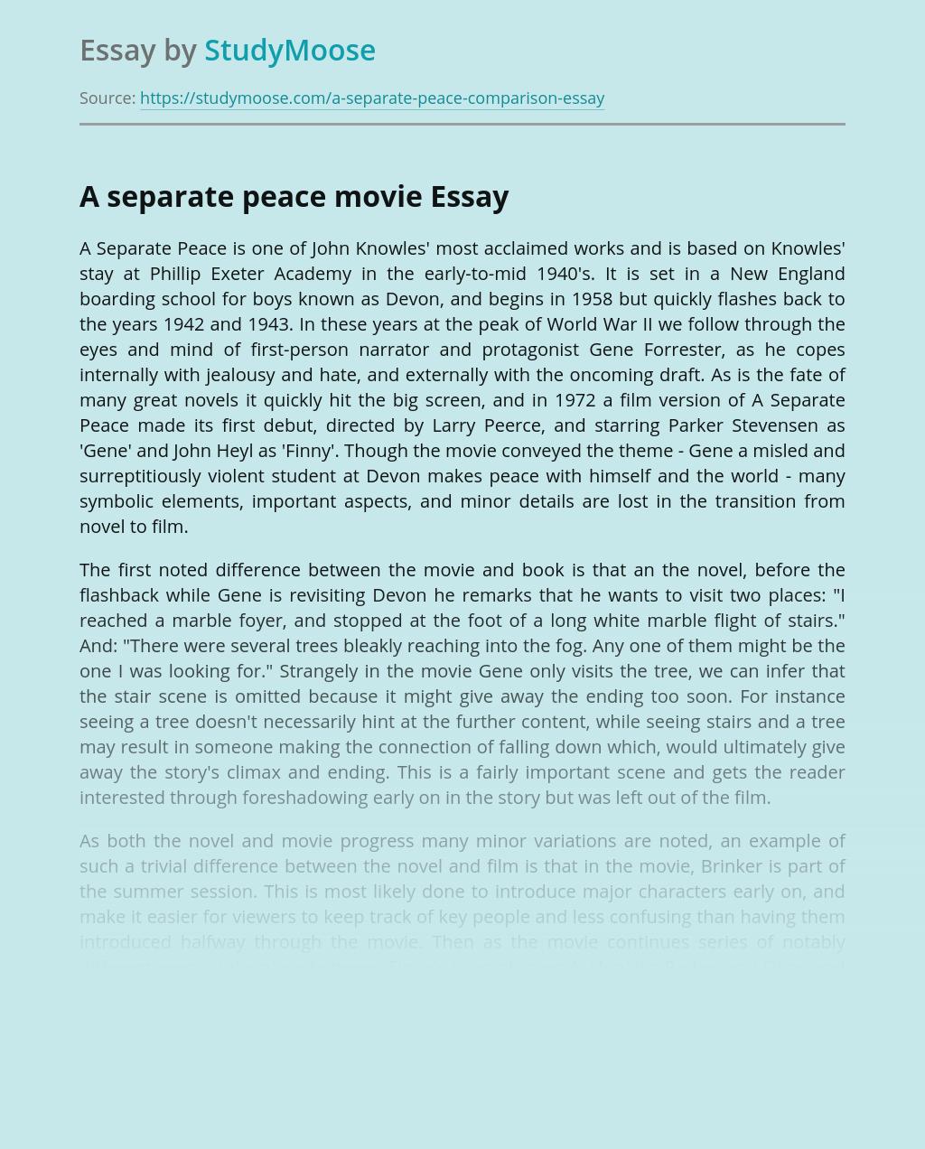 A separate peace movie
