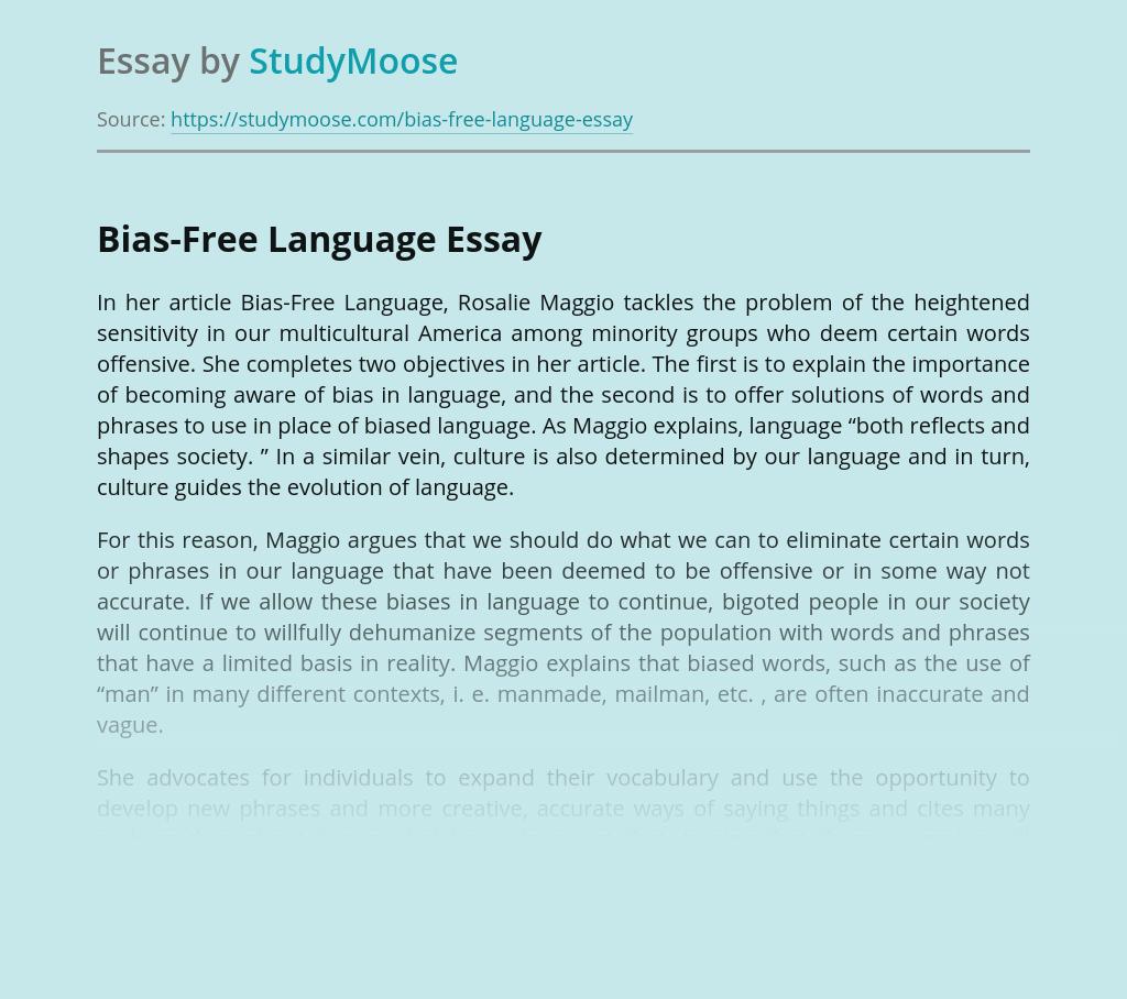 Bias-Free Language