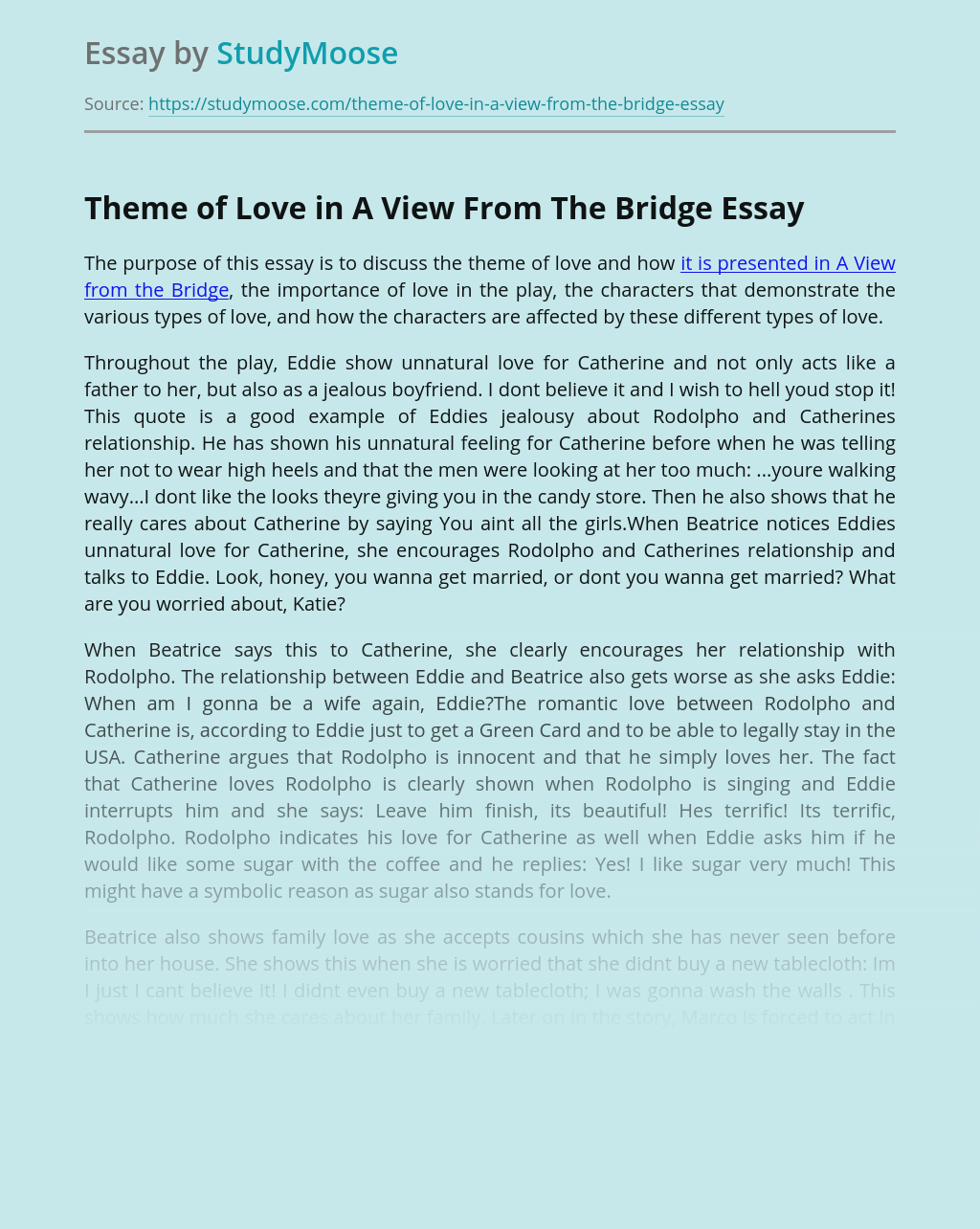 Theme of Love in A View From The Bridge