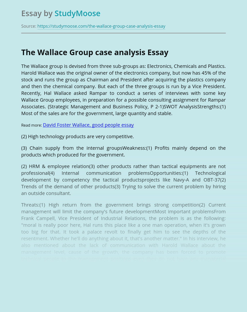 The Wallace Group case analysis