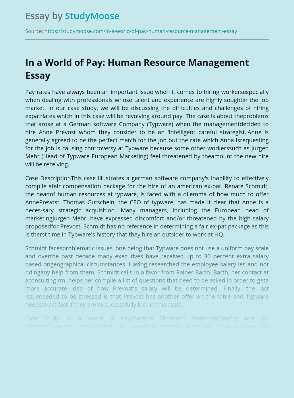 In a World of Pay: Human Resource Management