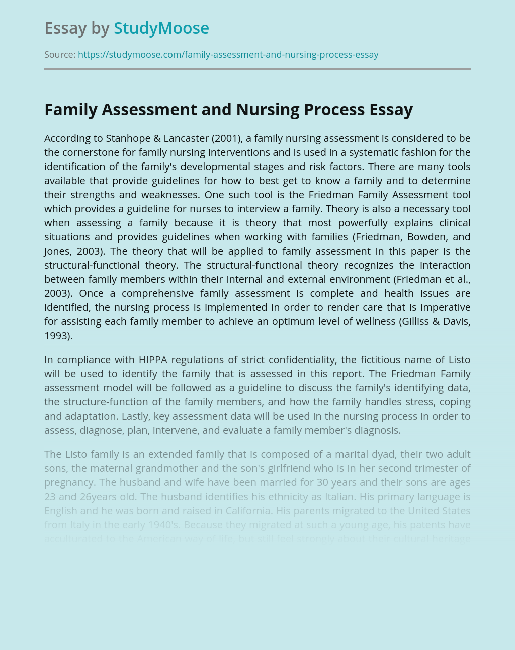 Family Assessment and Nursing Process