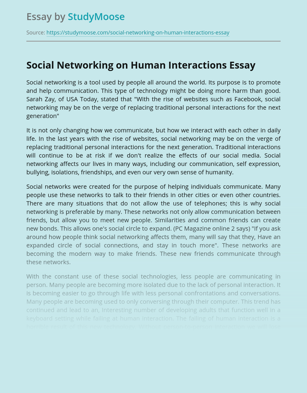 Social Networking on Human Interactions
