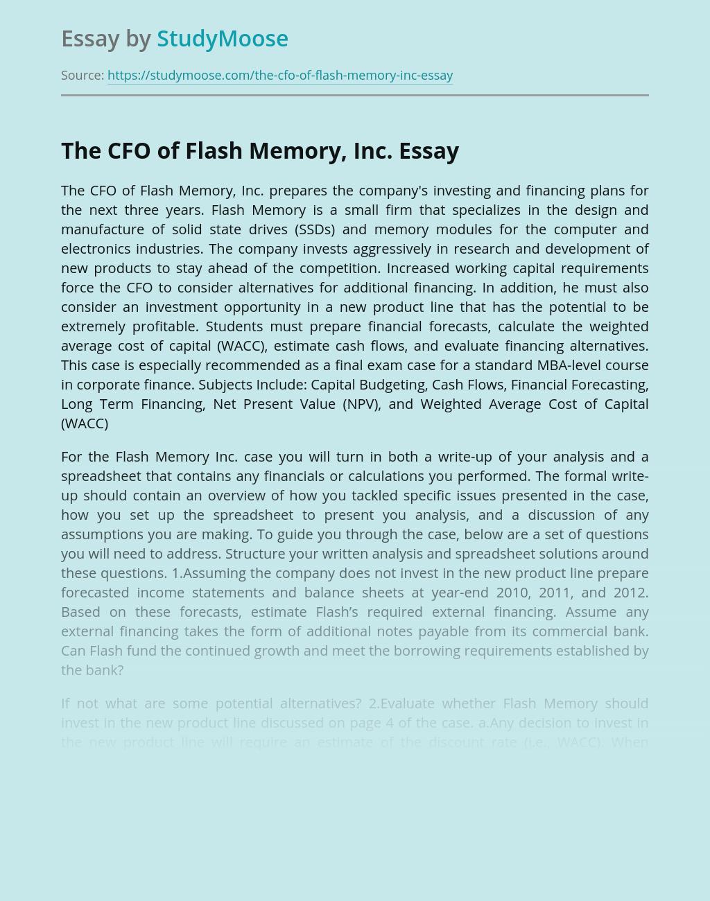 ?The CFO of Flash Memory, Inc.