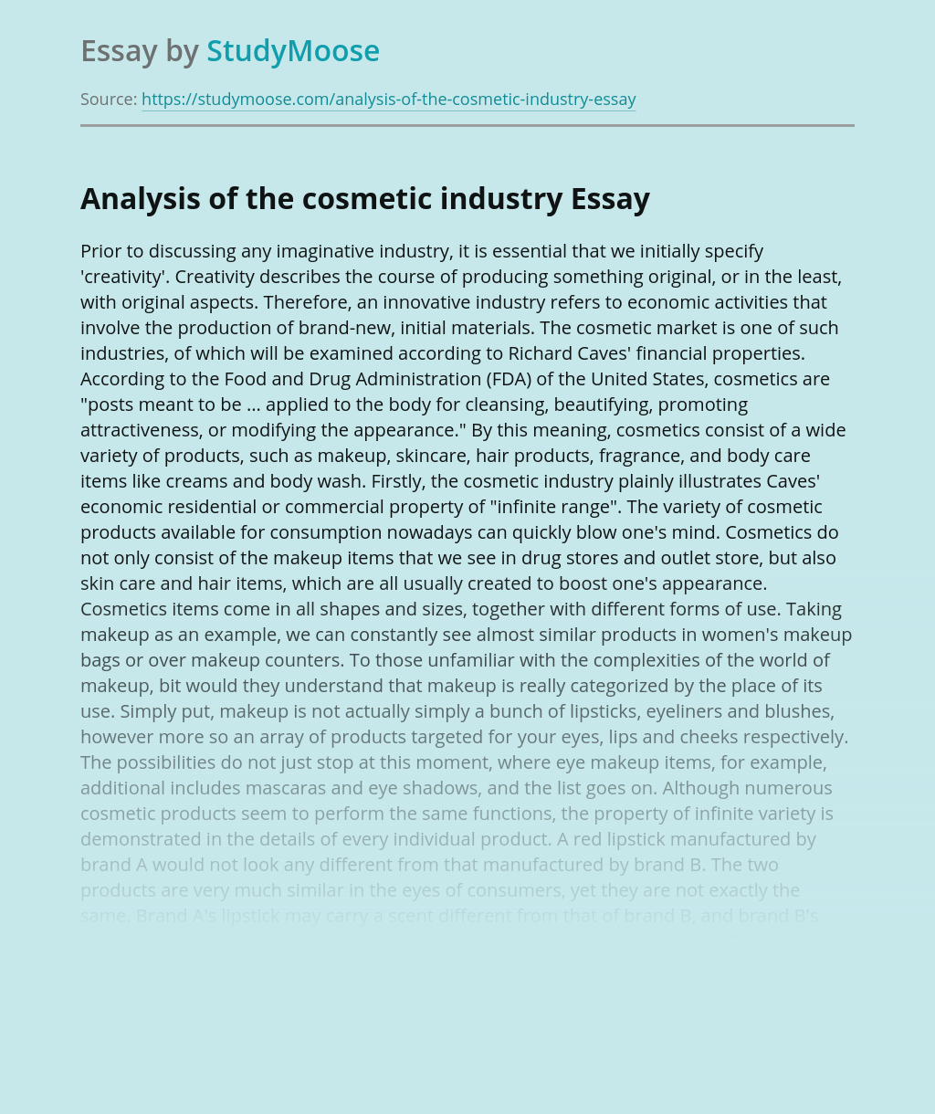 Analysis of the cosmetic industry