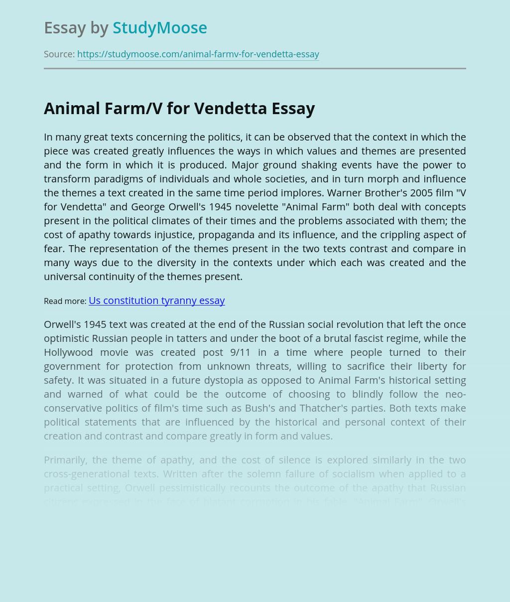 Animal Farm/V for Vendetta
