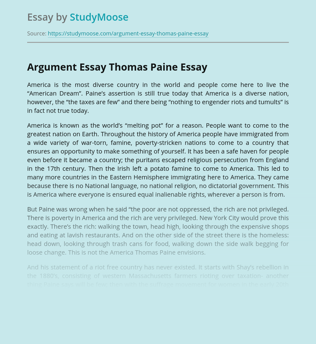 Argument Essay Thomas Paine