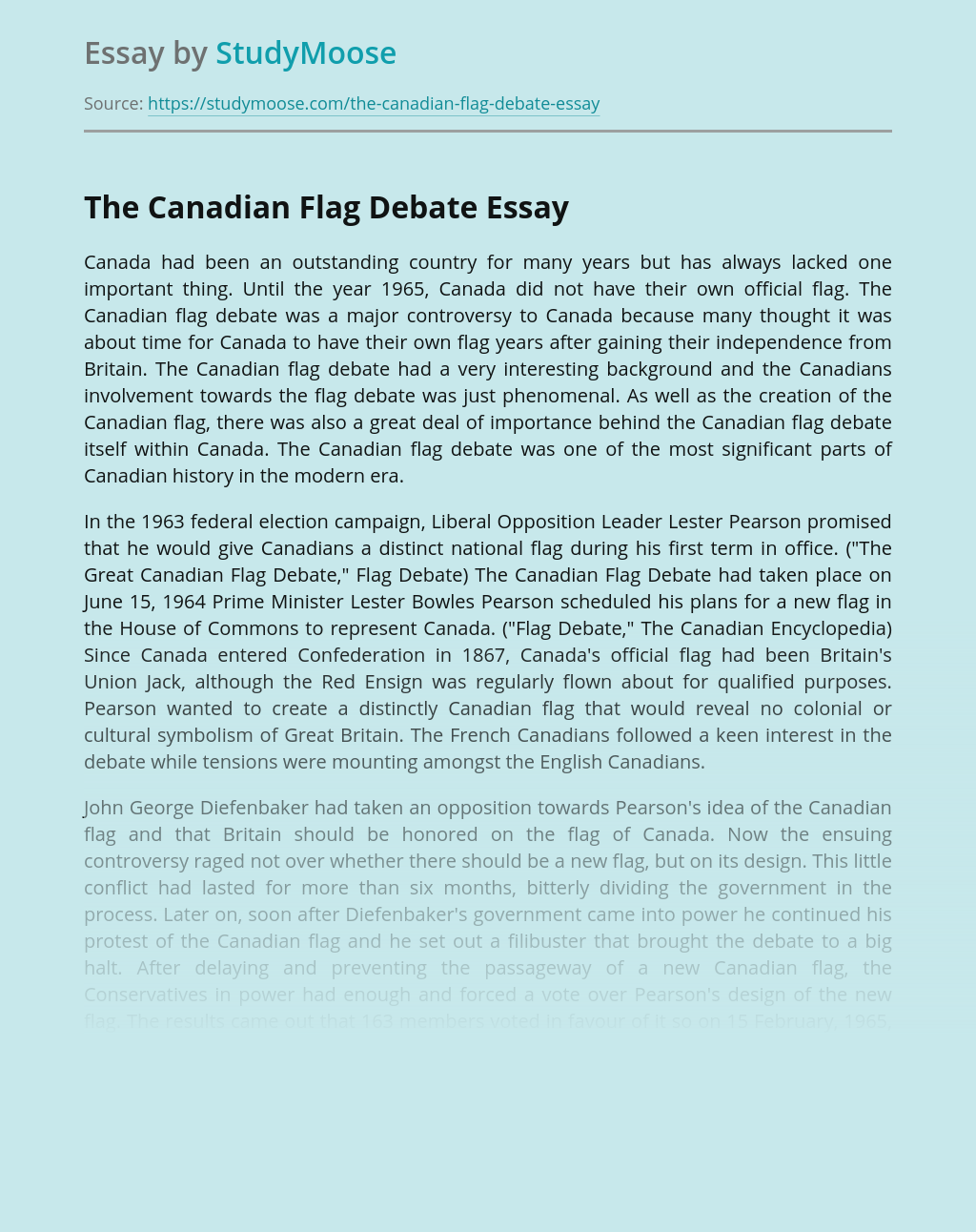 The Canadian Flag Debate