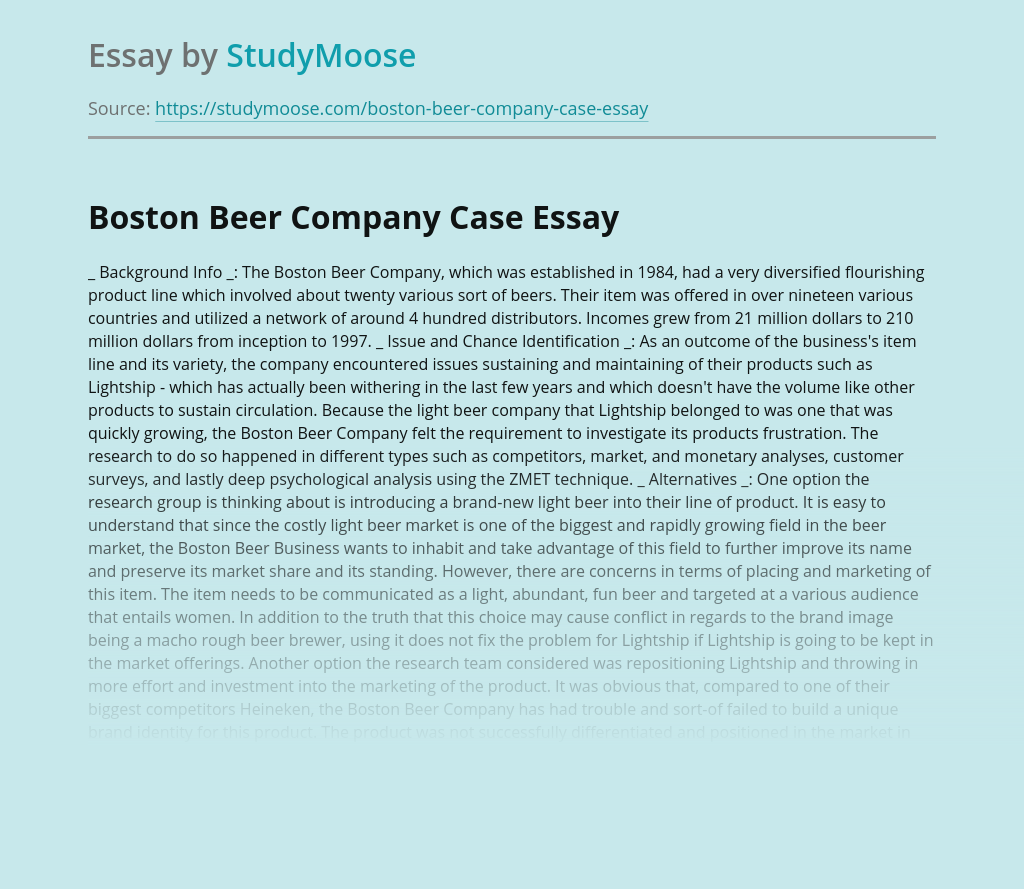 Boston Beer Company Case