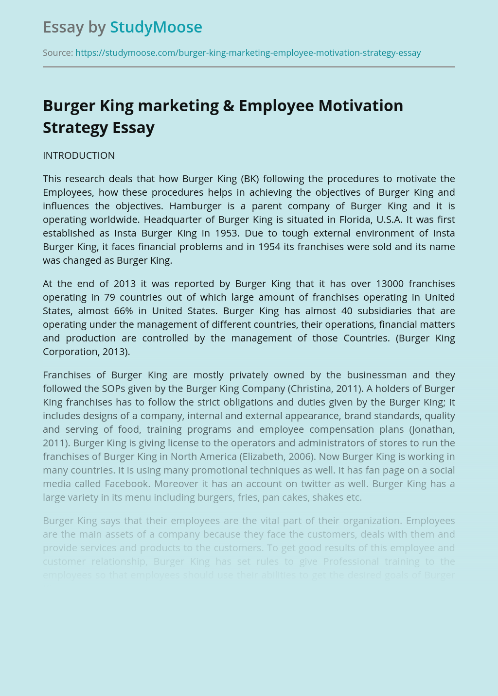 Burger King marketing & Employee Motivation Strategy