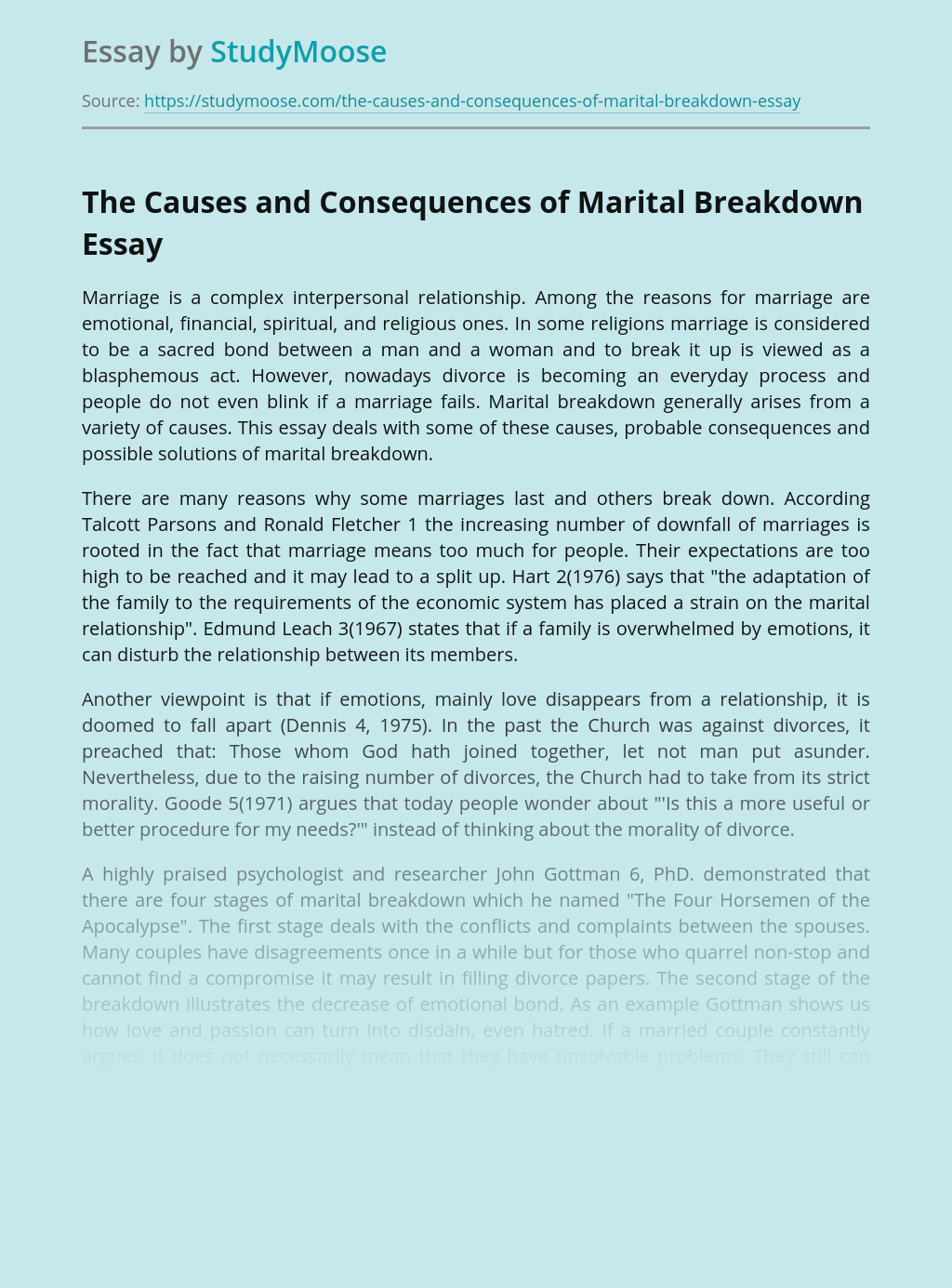 Causes and Consequences of Marital Breakdown and Divorce