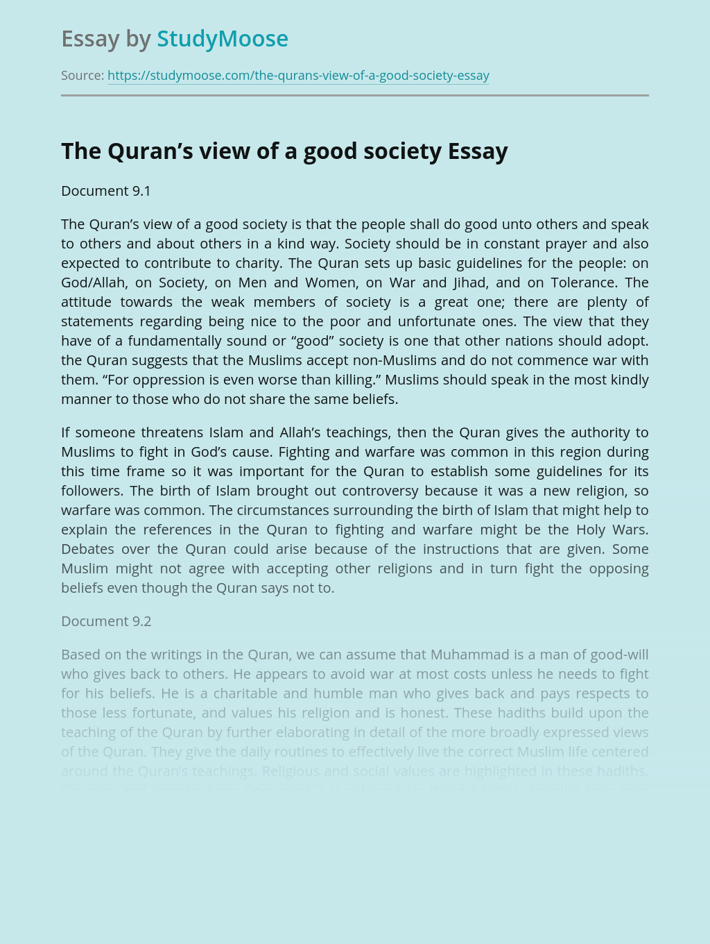 The Quran's view of a good society