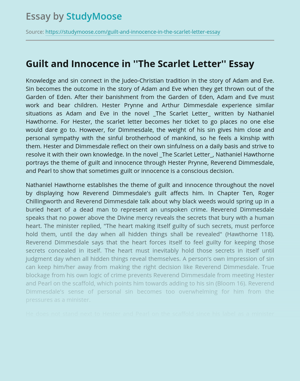Guilt and Innocence in ''The Scarlet Letter''