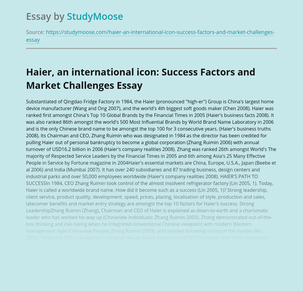 Haier, an international icon: Success Factors and Market Challenges