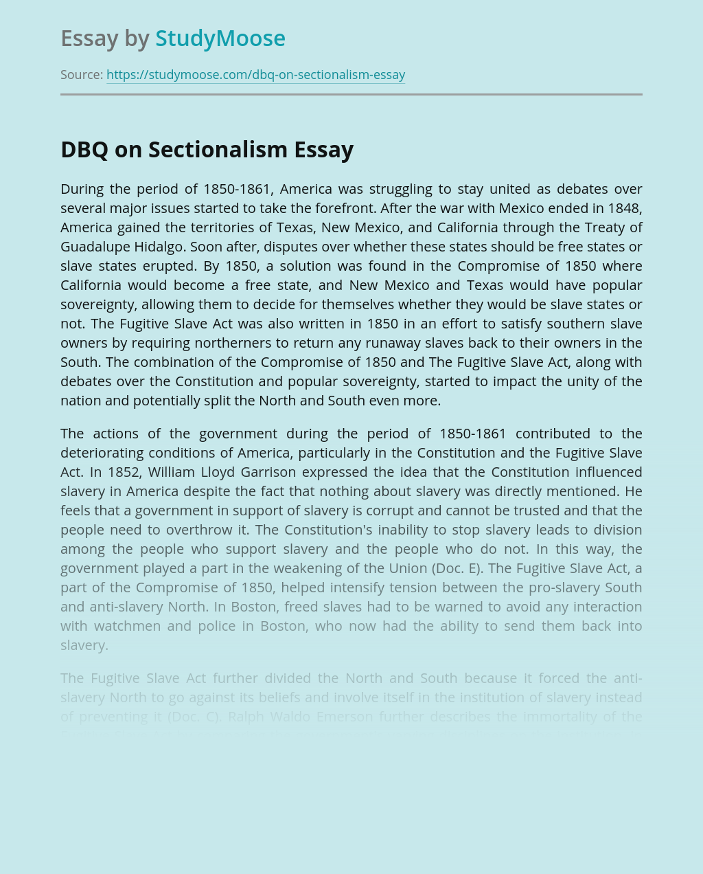 DBQ on Sectionalism
