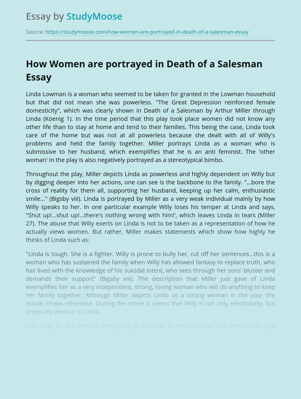 How Women are portrayed in Death of a Salesman