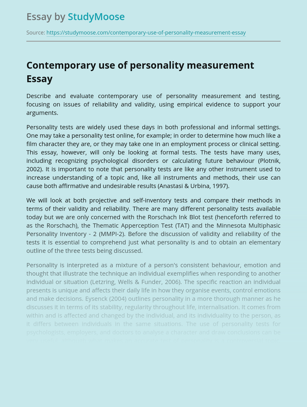 Contemporary use of personality measurement