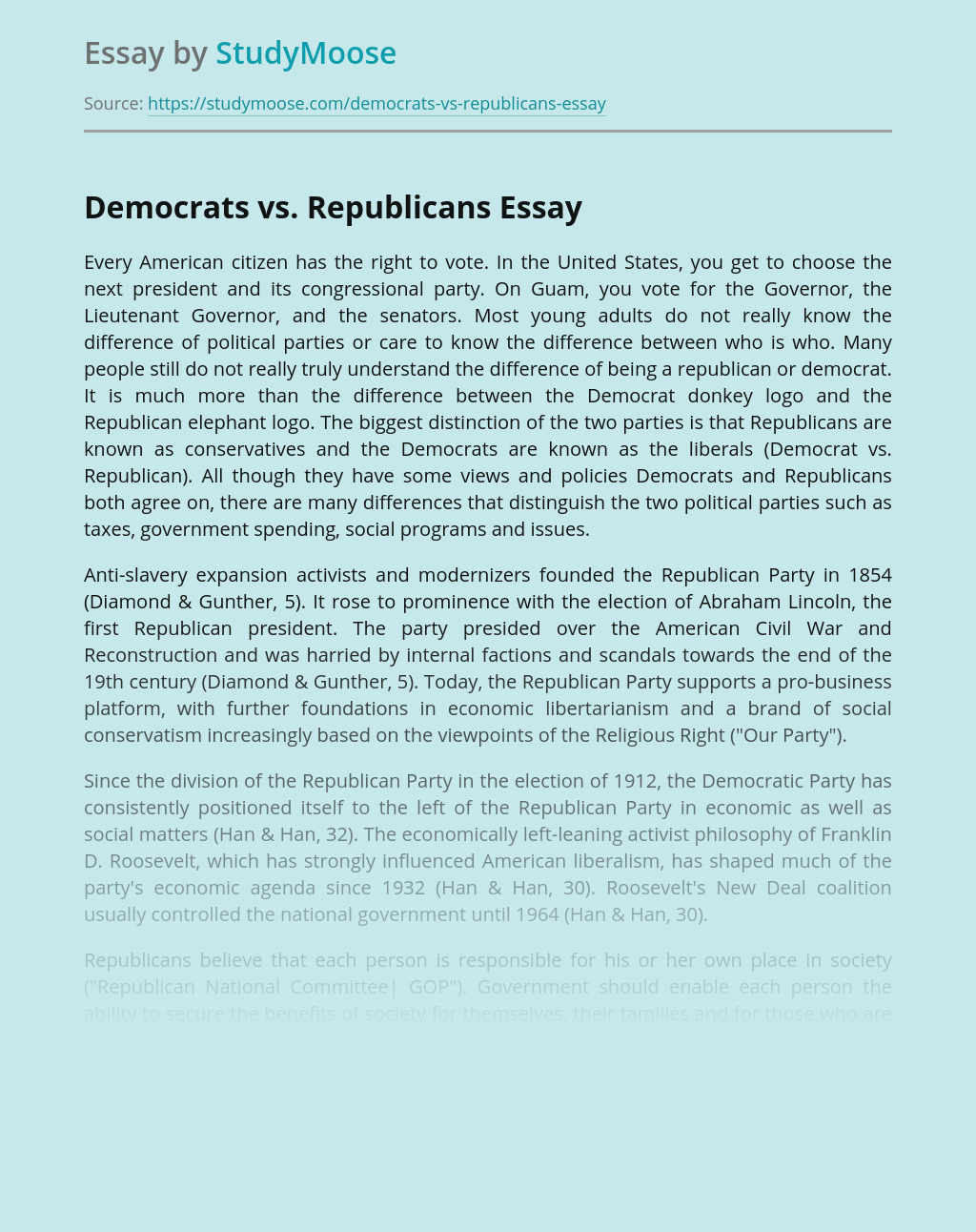 Democrats and Republicans on Taxes and Other Issues