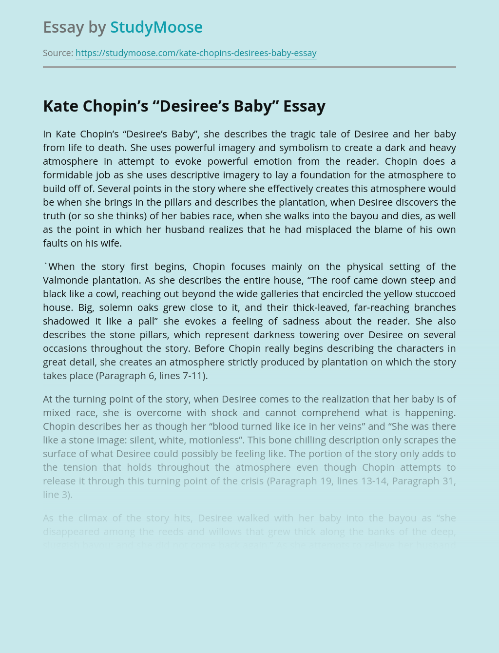 "Kate Chopin's ""Desiree's Baby"""