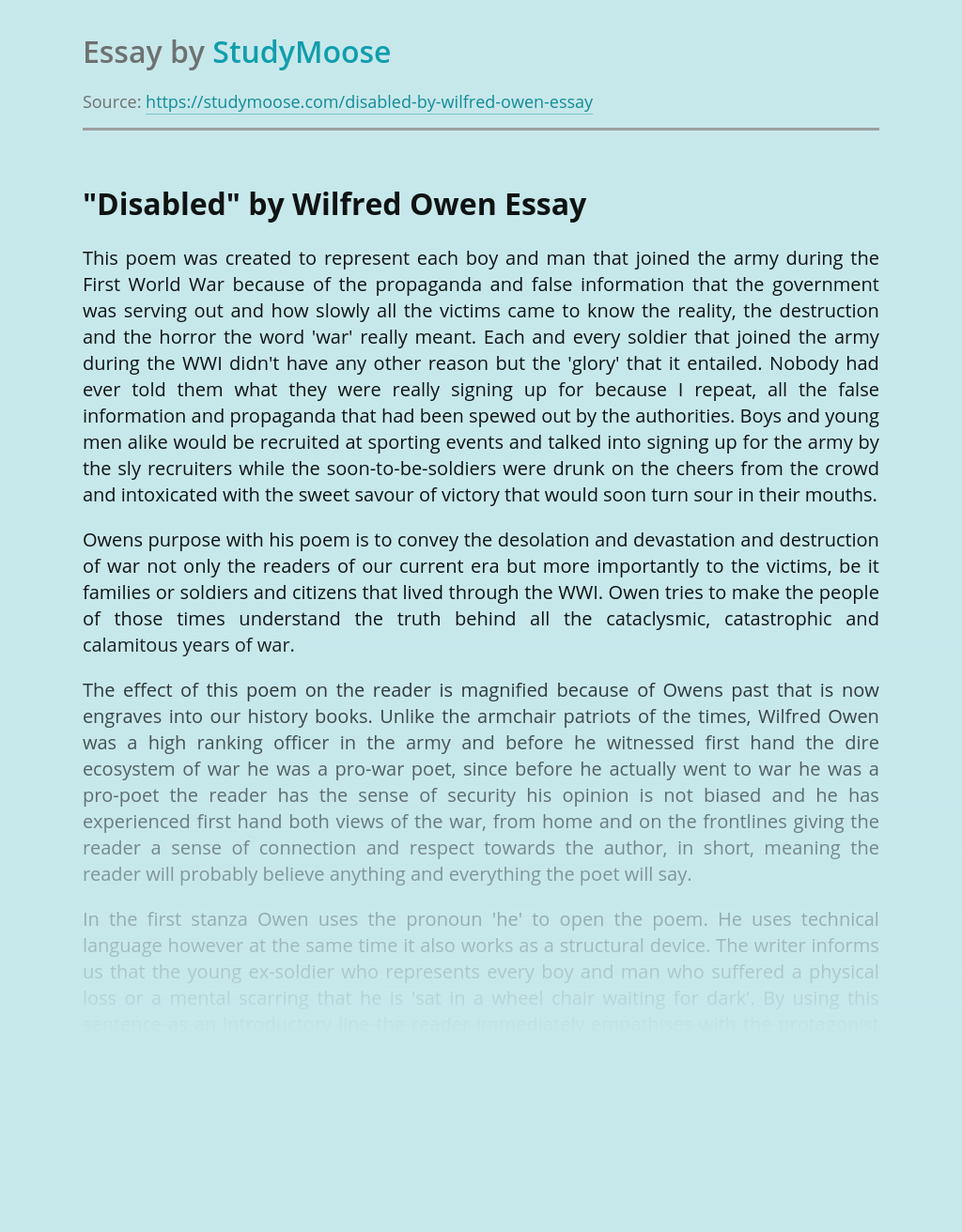 """Disabled"" by Wilfred Owen"
