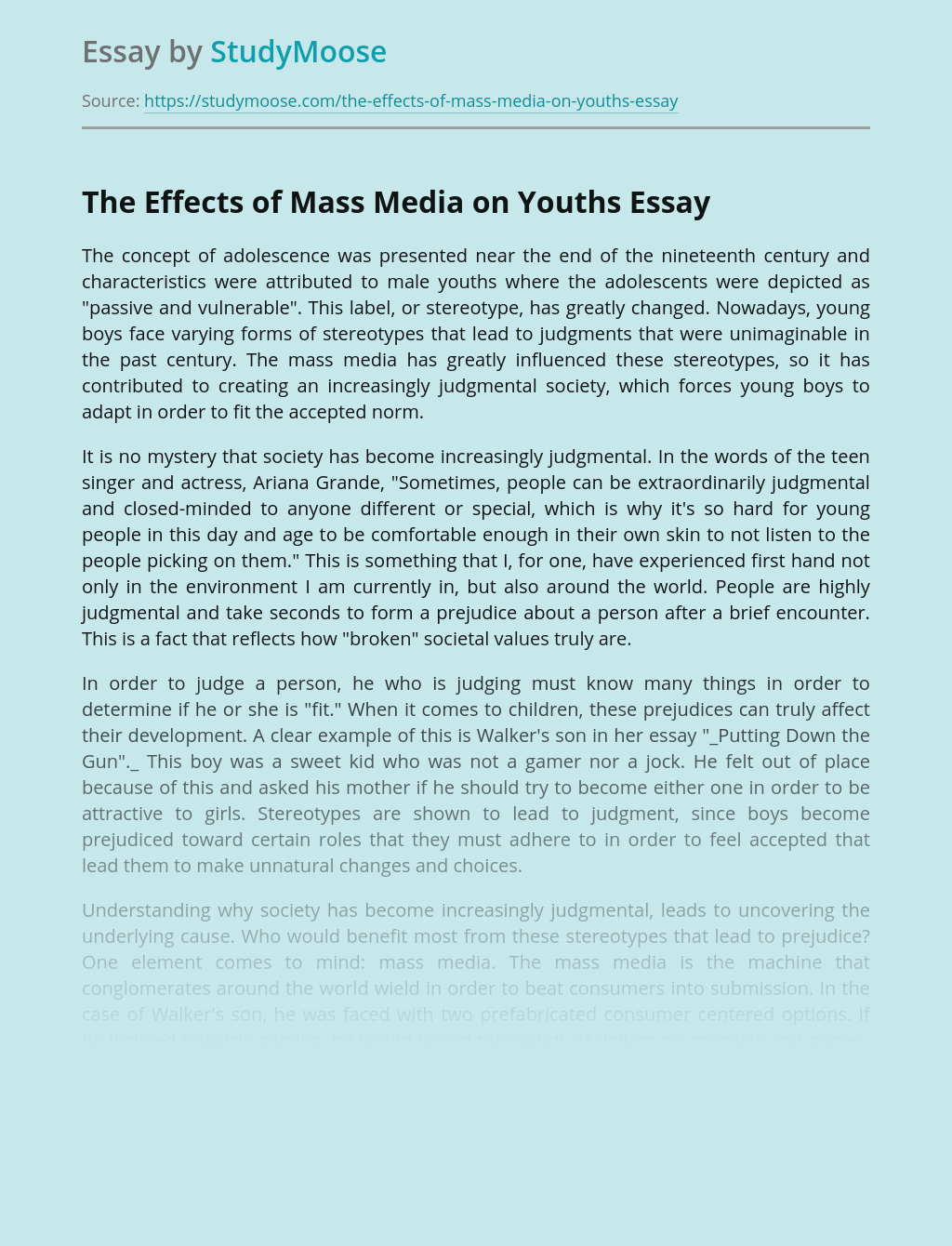 The Effects of Mass Media on Youths