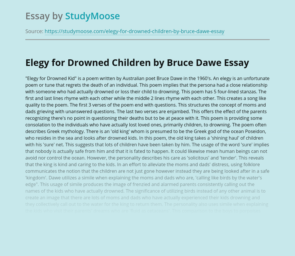 Elegy for Drowned Children by Bruce Dawe
