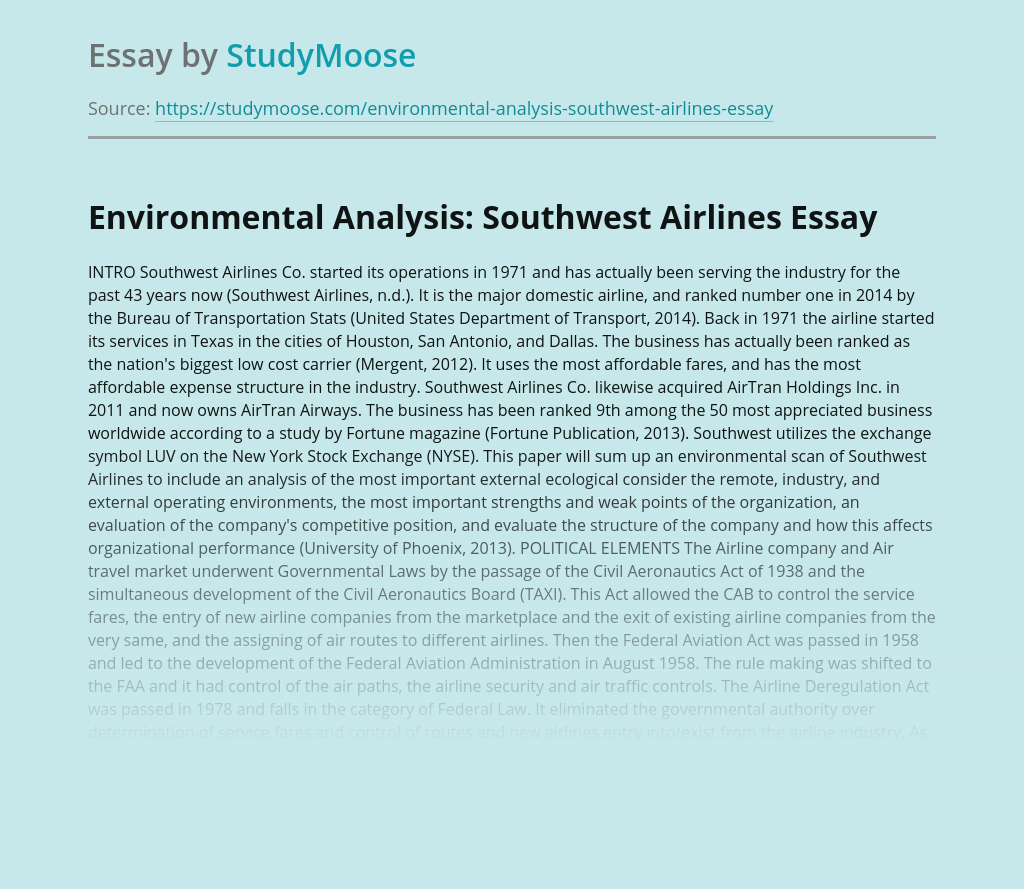 Environmental Analysis: Southwest Airlines