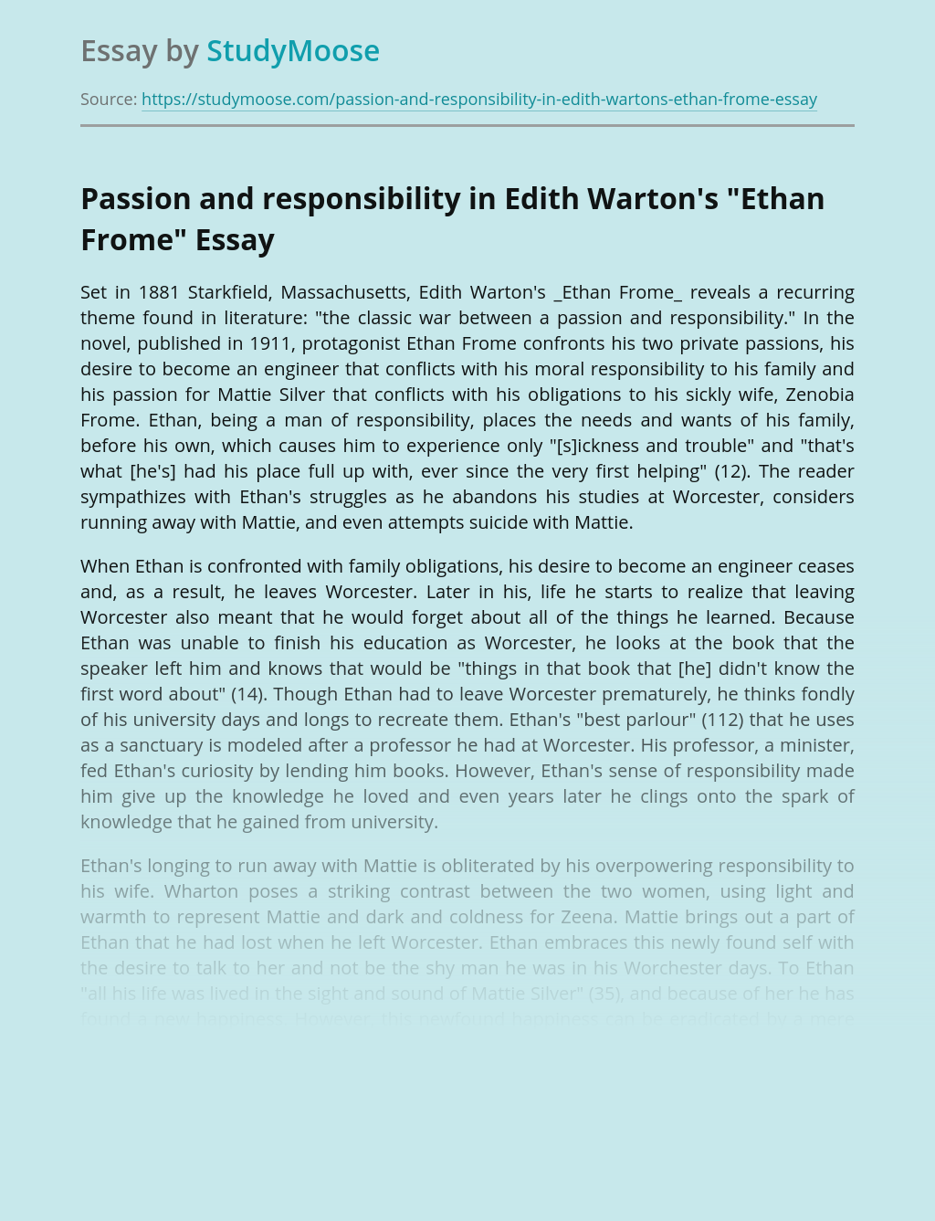 Passion and responsibility in Edith Warton's