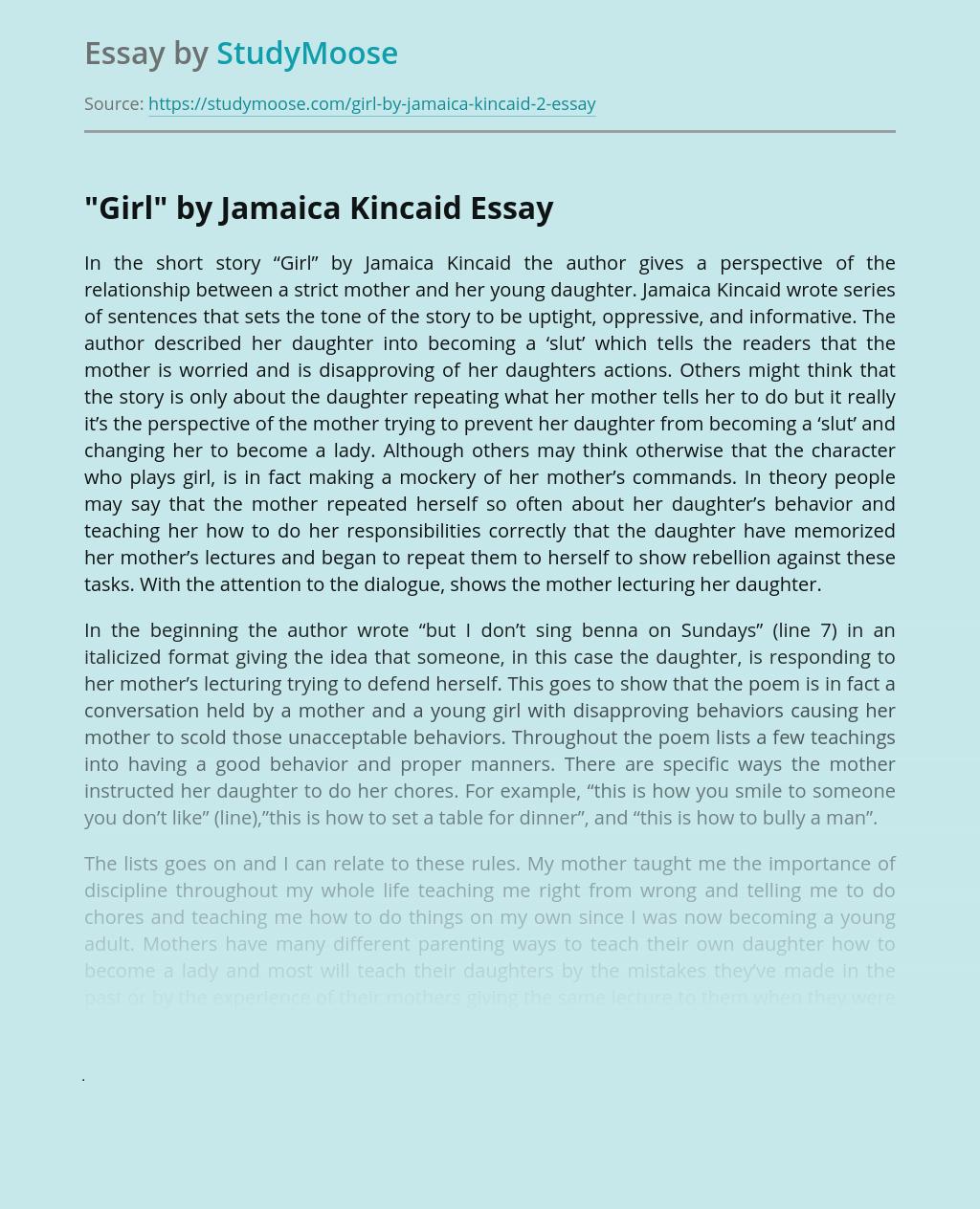 """""""Girl"""" by Jamaica Kincaid"""