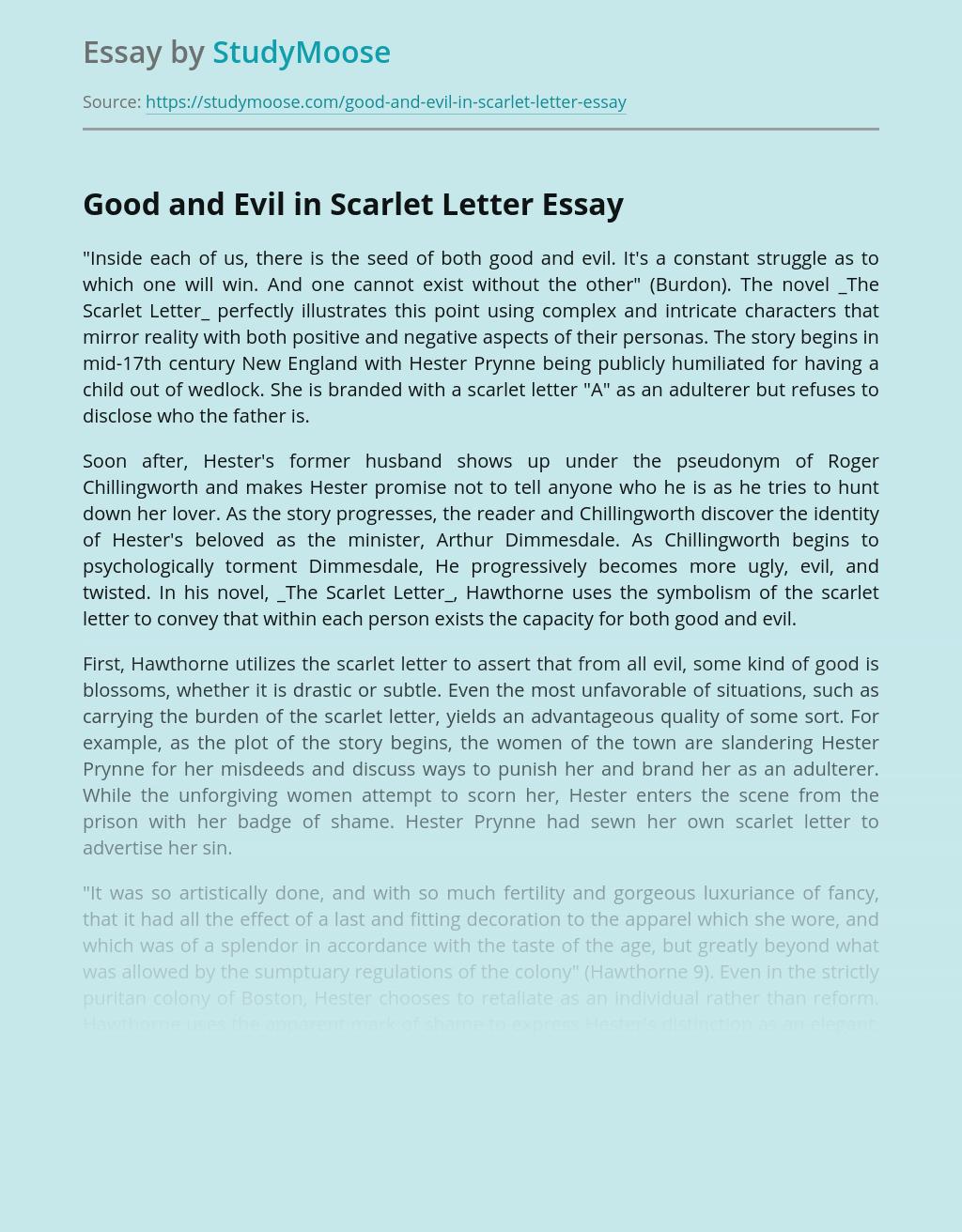 Good and Evil in Scarlet Letter