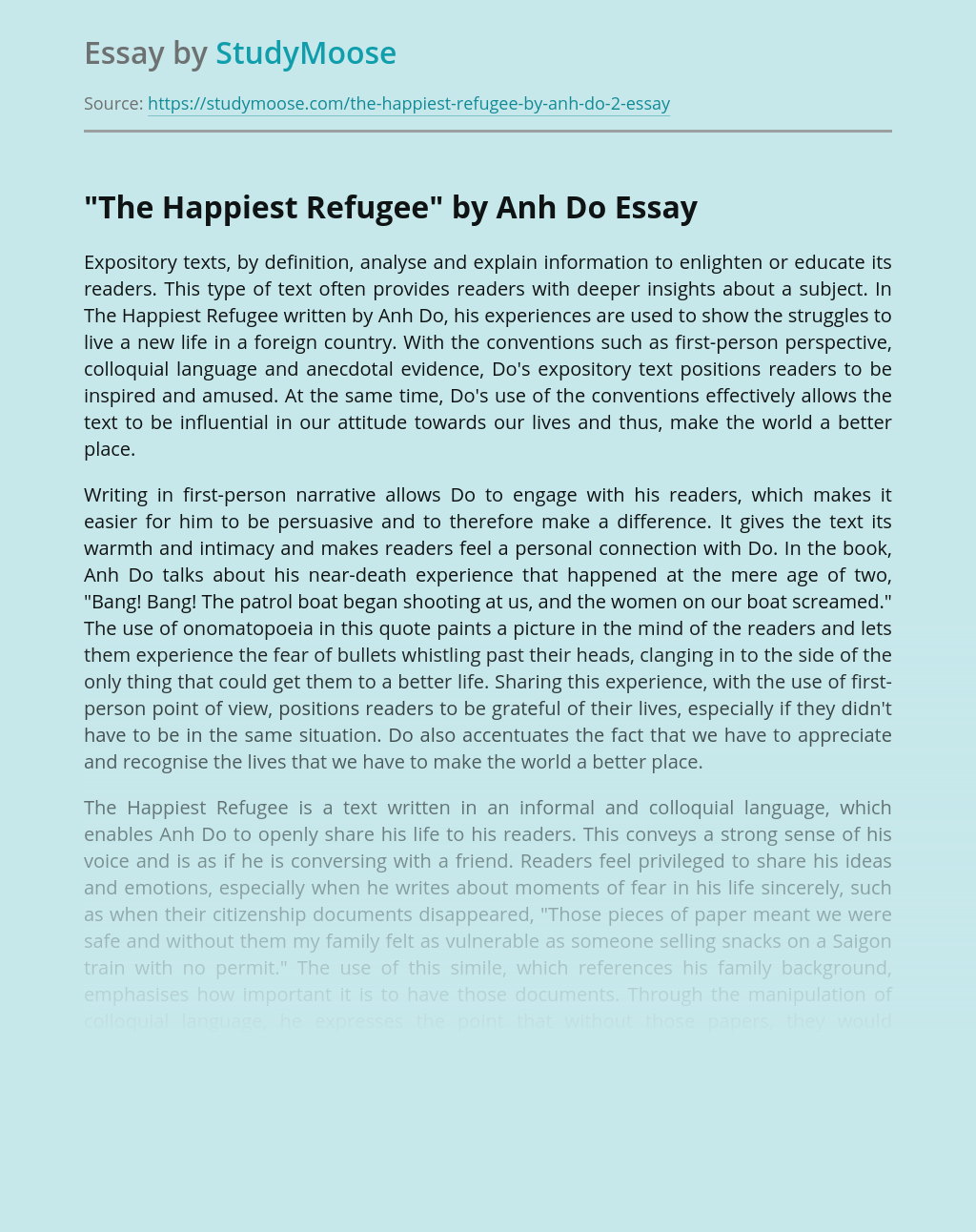 """Expository text as a persuasive tool in """"The Happiest Refugee"""""""