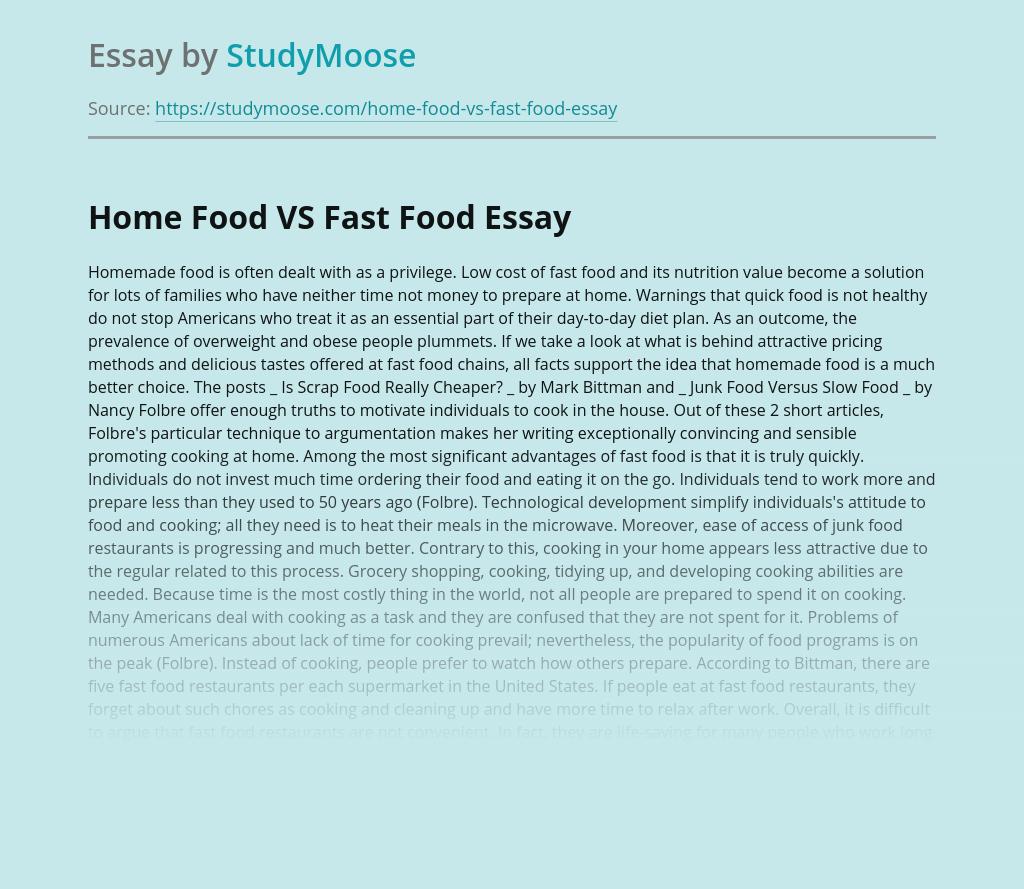 Home Food VS Fast Food