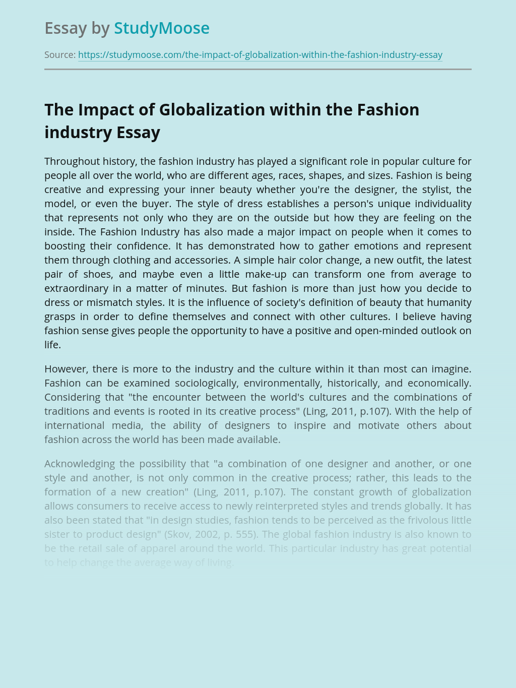 The Impact of Globalization within the Fashion industry