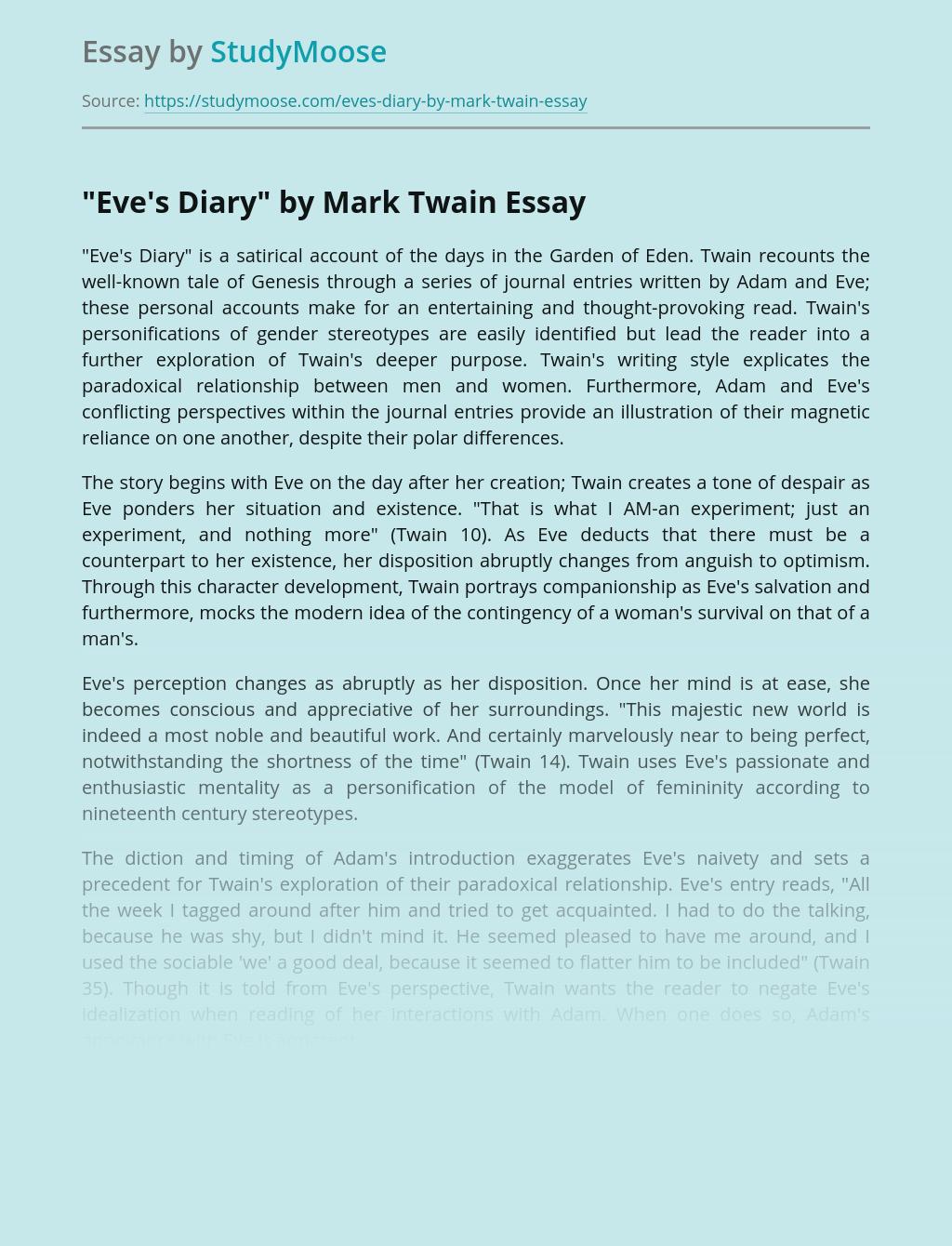 """Eve's Diary"" by Mark Twain"