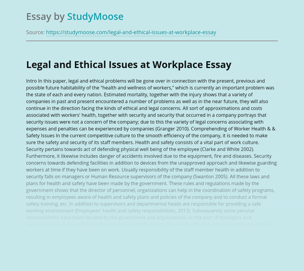 Legal and Ethical Issues at Workplace