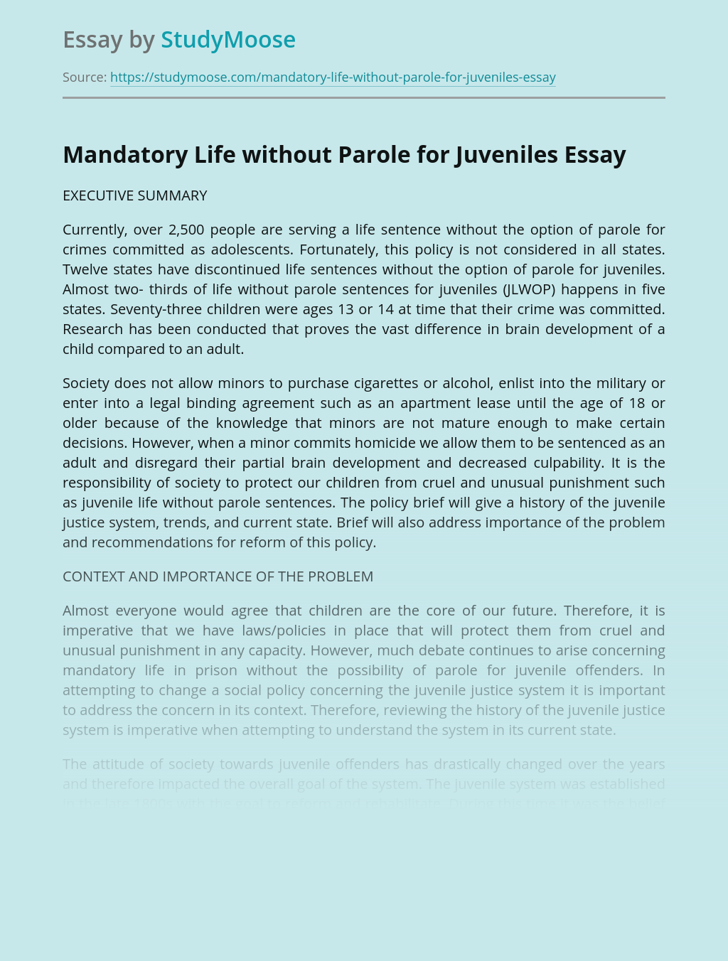 Mandatory Life without Parole for Juveniles